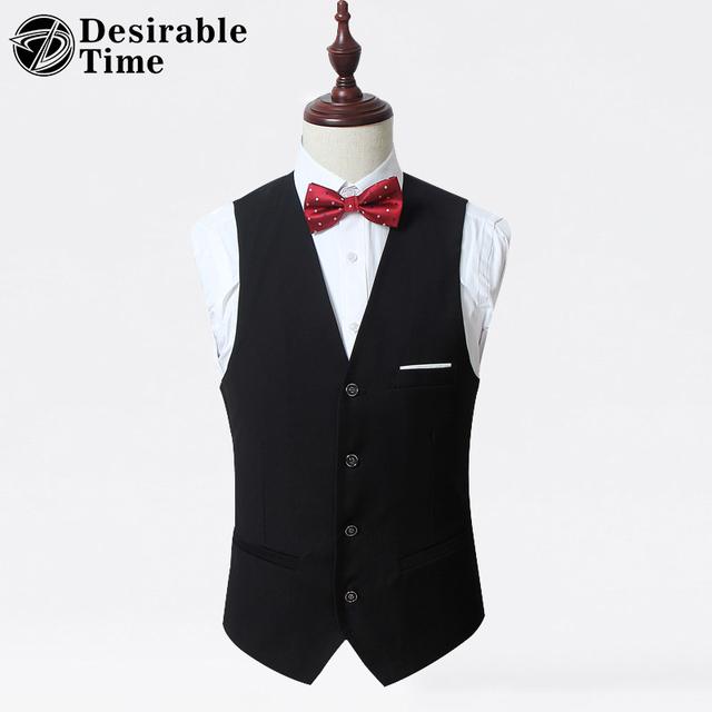Vestido Formal Para Hombre Negro Traje de Chaleco Más El Tamaño M-6XL 2017 Boda de La Manera de Los Hombres Slim Fit Traje Chaqueta Y Chaleco XK06