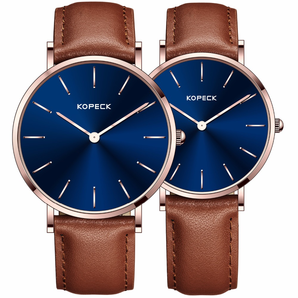 Kopeck Simple 6mm Ultra Thin Lovers Wrist Watch Genuine Leather Strap men and women Clock Fashion Couple Quartz Watches 2017