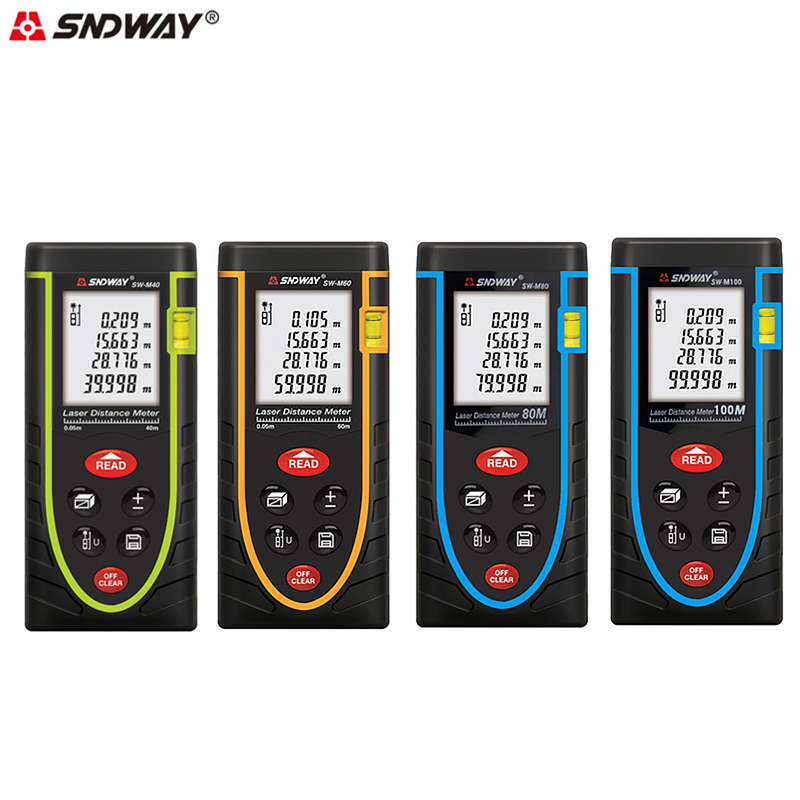 SNDWAY Laser Range Finder 40M/60M/80M/100M Digital Distance Measurer Meter Handheld Rangefinder Area/Volume/Angle Measure Tool 40m laser distance meter laser rangefinder 40m distance measurer instrument measurement area volume digital measuring tool 013