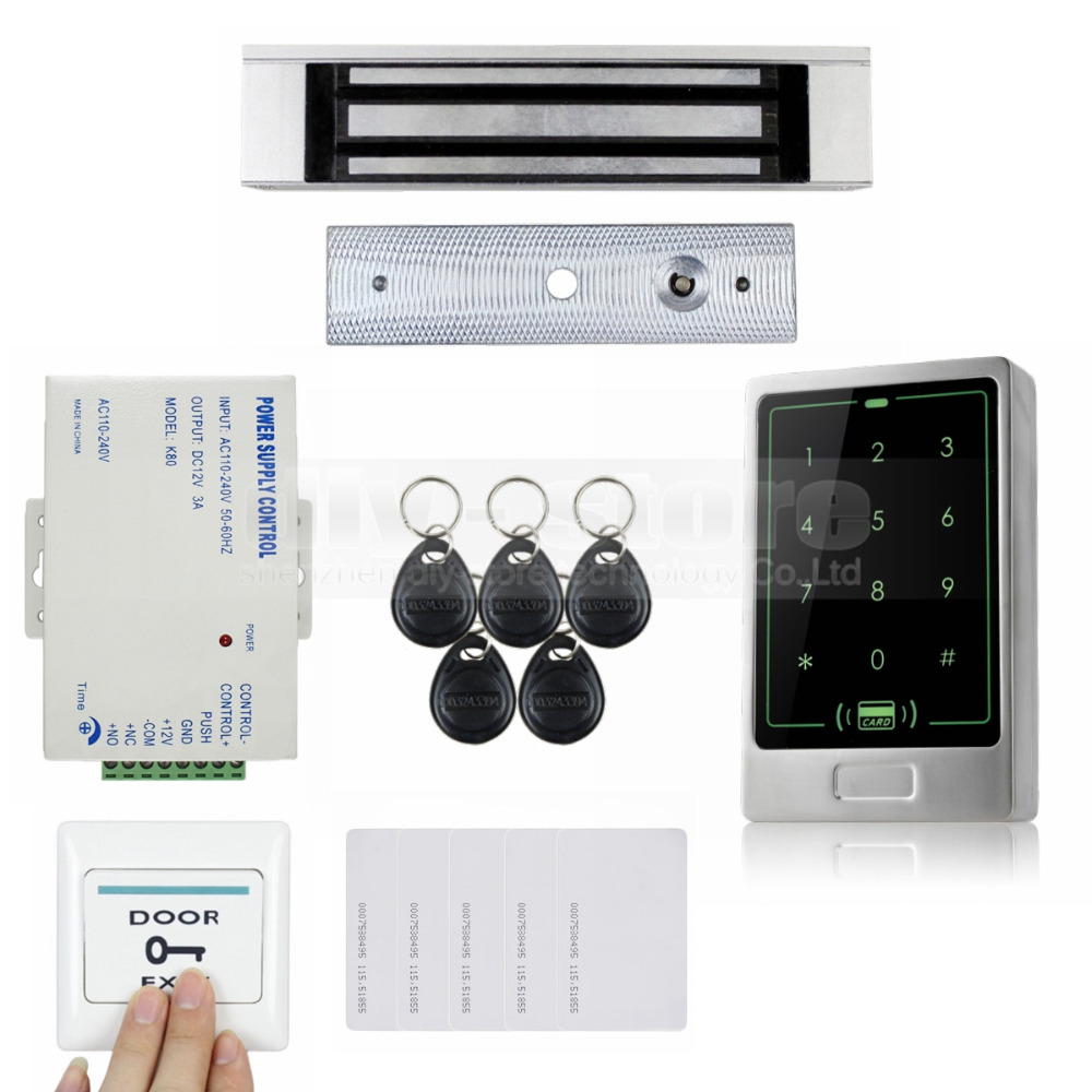 DIYSECUR 125KHz RFID Touch Reader Password Keypad + 180KG Magnetic Lock Door Access Control Security System KitDIYSECUR 125KHz RFID Touch Reader Password Keypad + 180KG Magnetic Lock Door Access Control Security System Kit