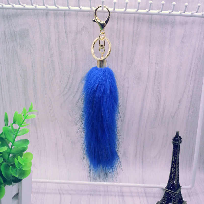 2 pçs/lote Cauda chaveiro Pele pom pom saco Anel Chave do Carro chaveiro-cores pompom 12 para As Mulheres Saco charme presente Jóias #16017-1