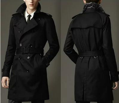 Blue khaki double breasted long black trench coat men british ...