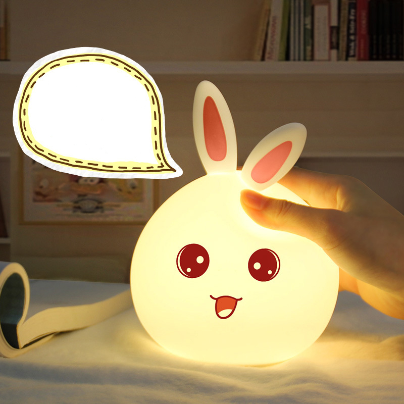 Adorable rabbit cute adorable pet USB silicone light colorful cartoon LED color colorful atmosphere lamp charging feeding lamp