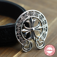 925 sterling silver men's belt button personality domineering classic hip hop punk style round letter shape send lover's gift