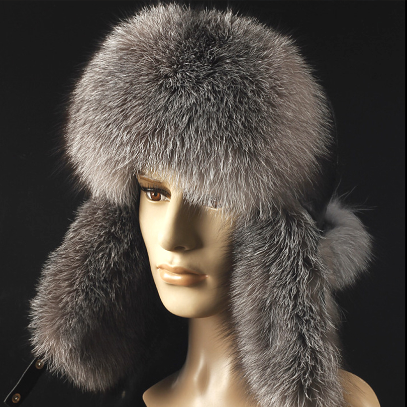 ФОТО Star Fur 2016 Genuine Silver Fox Fur Hats Men Real Raccoon Fur Lei Feng Cap for Russian Men Bomber Hats with Leather Tops