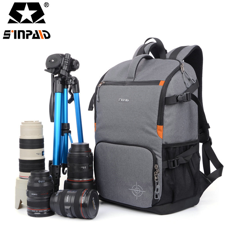 Sinpaid Camera Backpack DSLR SLR Camera Bag Camera Case Waterproof Bag, Multi-functional Digital DSLR Camera Video Bag-45 caden n5 camera backpack video dslr slr case canvas multi functional camera bags with tripod belt rain cover