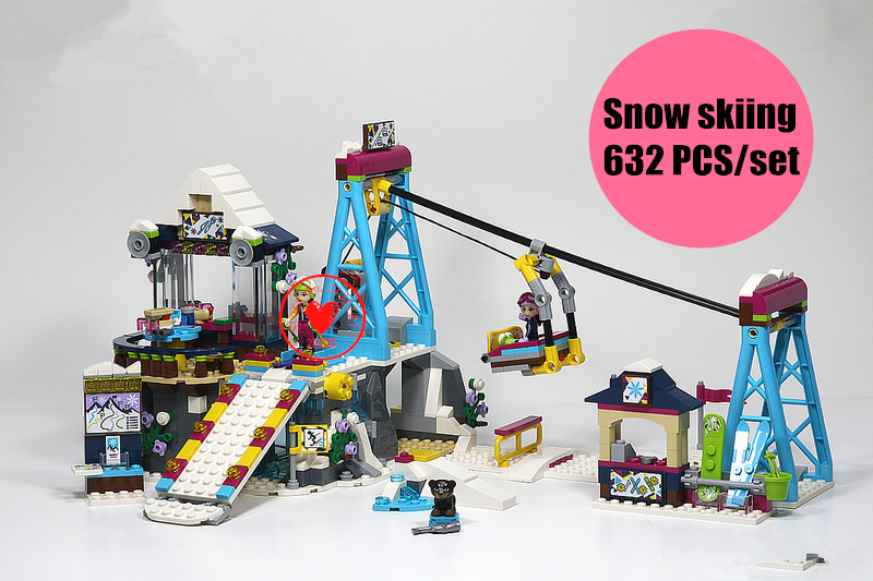 Girls Friends game bricks Snow Resort Ski Lift model Building Blocks Bricks Toys compatiable legoe Friends kid gift set 632pcs building blocks snow resrot ski lift girls toys kids bricks toy girl gifts compatible lepins friends diy model toys