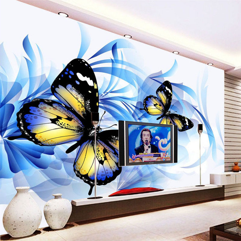 Photo wallpaper modern abstract art beautiful romantic for Butterfly mural wallpaper