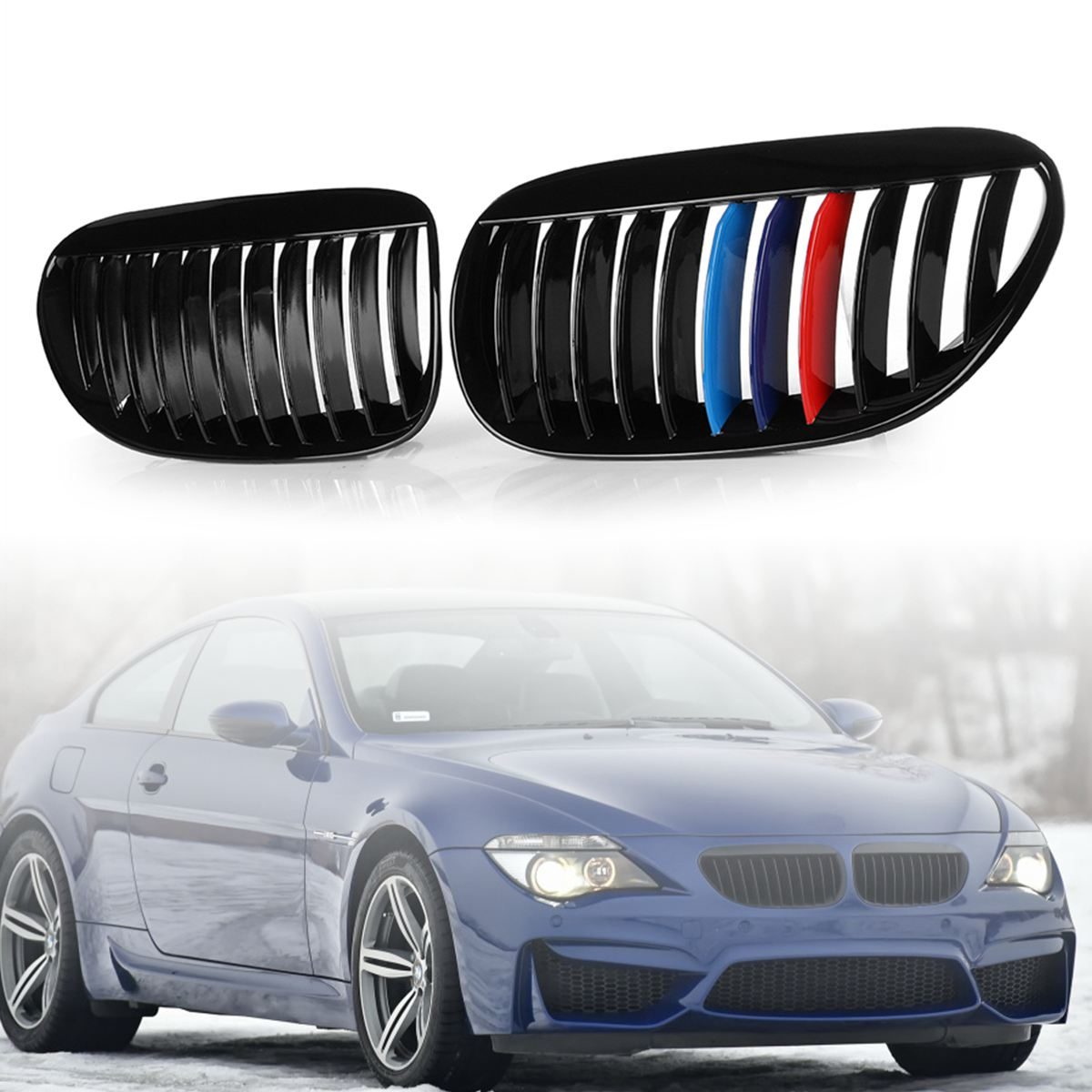 Pair Front Grilles Gloss Black Type M Color For BMW 6