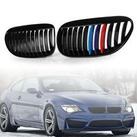 Pair Front Grilles Gloss Black Type M Color for BMW 6 Series E63 E64 M6 2005 2006 2007 2008 2009 2010