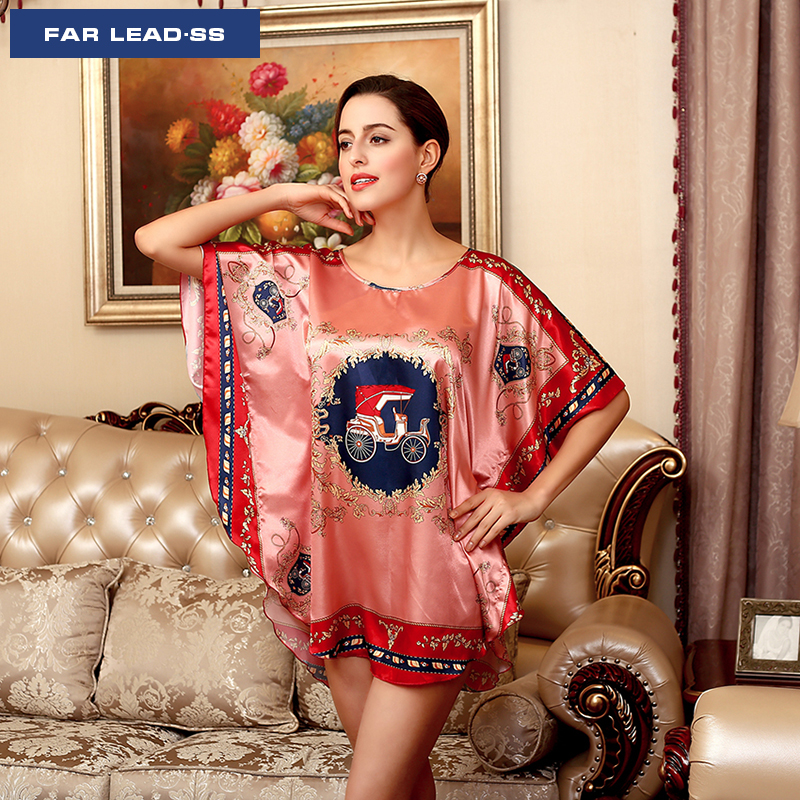 FAR LEAD Nightgown Sexy woman nightie High-end silk lingerie Female underwear Sleepwear Nightwear Plus size Night dress Pyjamas
