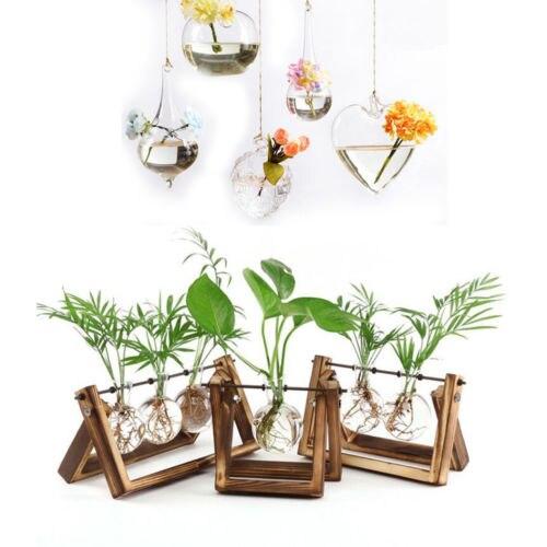Creative Wooden Stand Glass Terrarium Container Hydroponics Planter Flower Pot Tabletop Vase DIY Home Office Wedding Decor