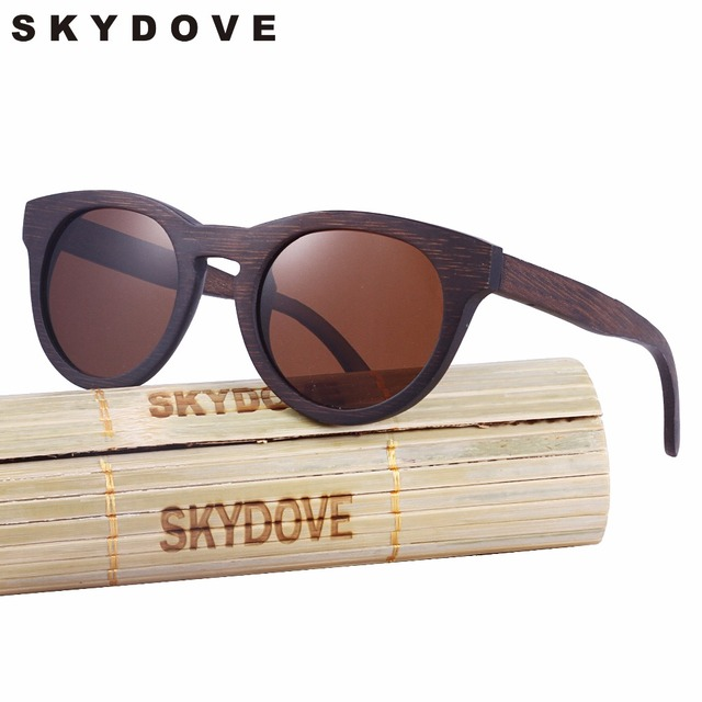 3f6611a5a6 SKYDOVE Polarized Bamboo Sunglasses Brown Round Men Wood Sunglasses vintage  UV400 2018 Wooden Sunglasses Women Handmade