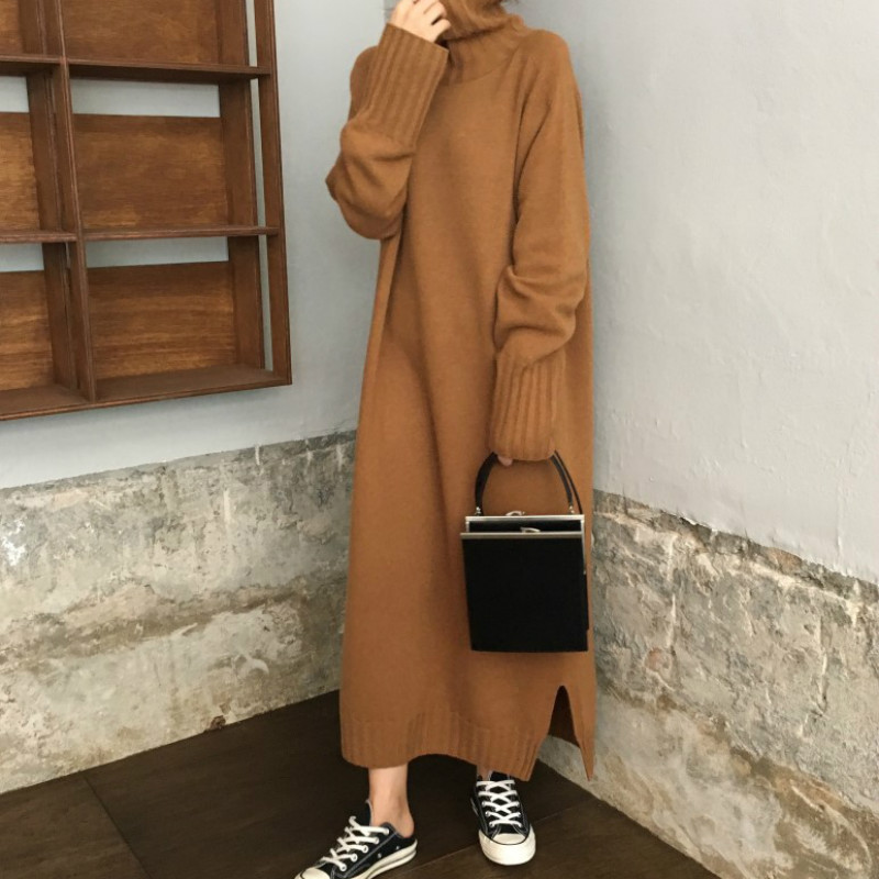 Women Autumn Winter thick Turtleneck long Sweater Dress ladies Long Sleeve straight split Knitted pullover dresses solid