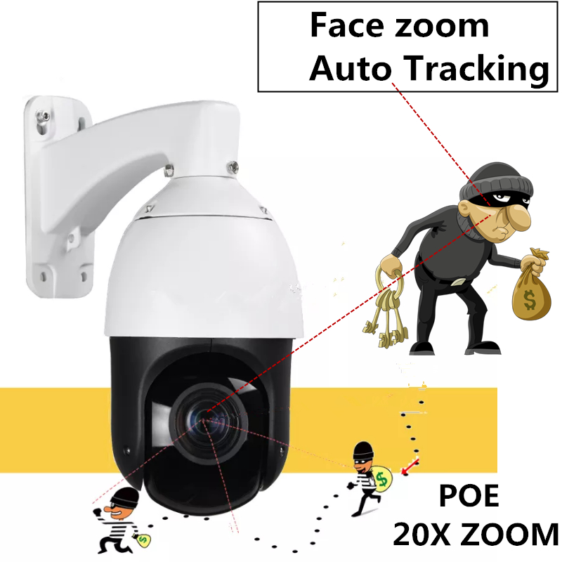 H.265 1080P PTZ 20X IR 100m IP PTZ Analysis Camera 2mp WDR 3D NDR motion detection Onvif Face zoom Auto Tracking Camera POE