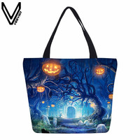 VEEVANV Sells Environmentally Friendly Canvas Shopping Bags Folding Travel Shopping Bags Supermarkets Halloween Skeletons