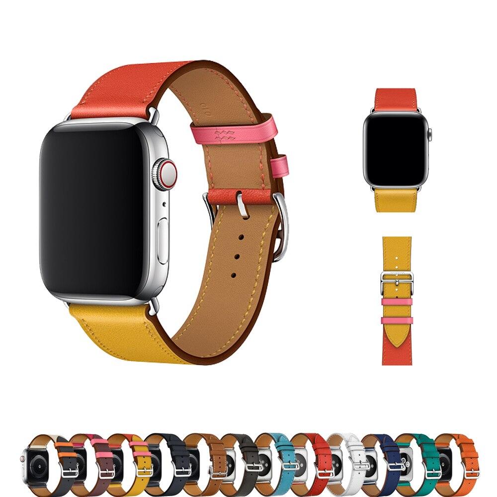 Correa de cuero genuino para apple watch banda 42mm 38mm iwatch banda de 4/3 44mm 40mm pulsera Correa metal hebilla de reloj Accesorios
