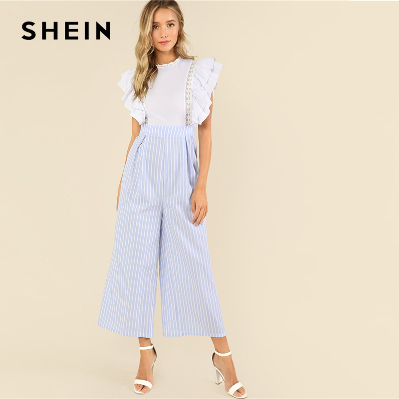 733aca5da0 SHEIN Multicolor Elegant Lace Insert Layered Ruffle Mix and Match Jumpsuit  Stand Collar Sleeveless Summer Women Casual Jumpsuit-in Jumpsuits from  Women's ...