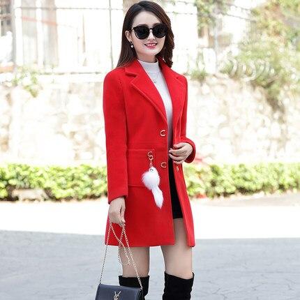 Section Manteau 1 2 2018 Femelle Longue bleu Laine De Coréen Nouveau Mince Hiver ETEMwq0A