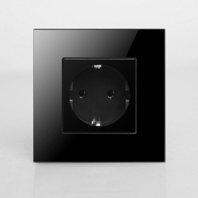 Round Back , EU Power Socket, Schuko, Black Crystal Glass Panel, 16A EU Standard Wall Outlet KP001EU-B