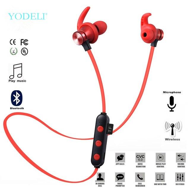 Yodeli XT 22 bluetooth kablosuz kulaklıklar 5.0 destek TF kart spor kulaklık Handsfree Stereo kulaklık cep telefonu için Mic ile