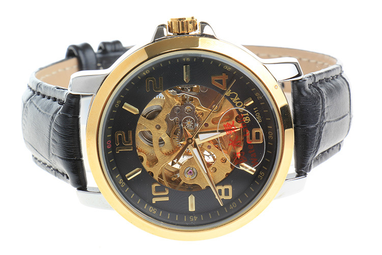 2017 Men Gold Watches Automatic Mechanical Watch Male Skeleton Wristwatch leather Band Luxury Brand Sports Design starking men skeleton automatic mechanical luxury brand sapphire two tone gold case genuine leather strap wristwatch male clock