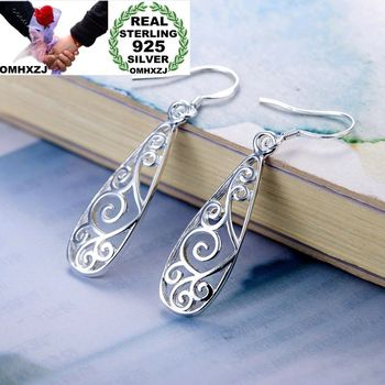 Party Wedding Vintage Silver Hollowed 925 Sterling Silver Earrings