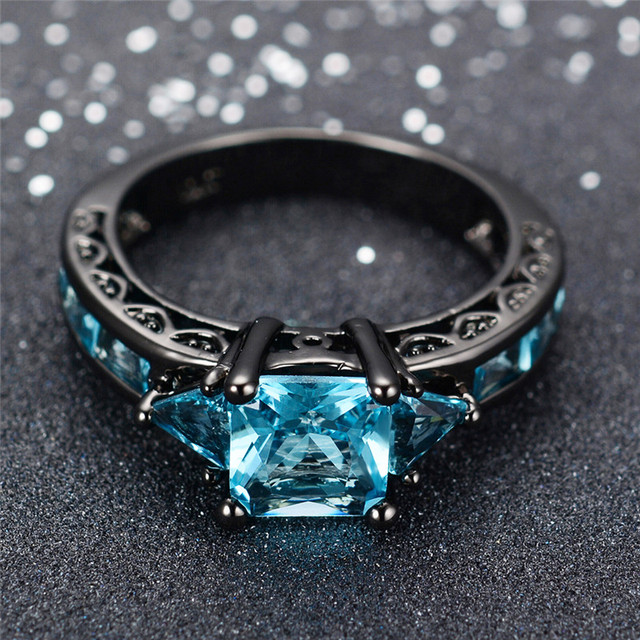 Size 6-10 Classical Jewelry Princess Cut Light Blue Wedding Ring Black Gold Fill