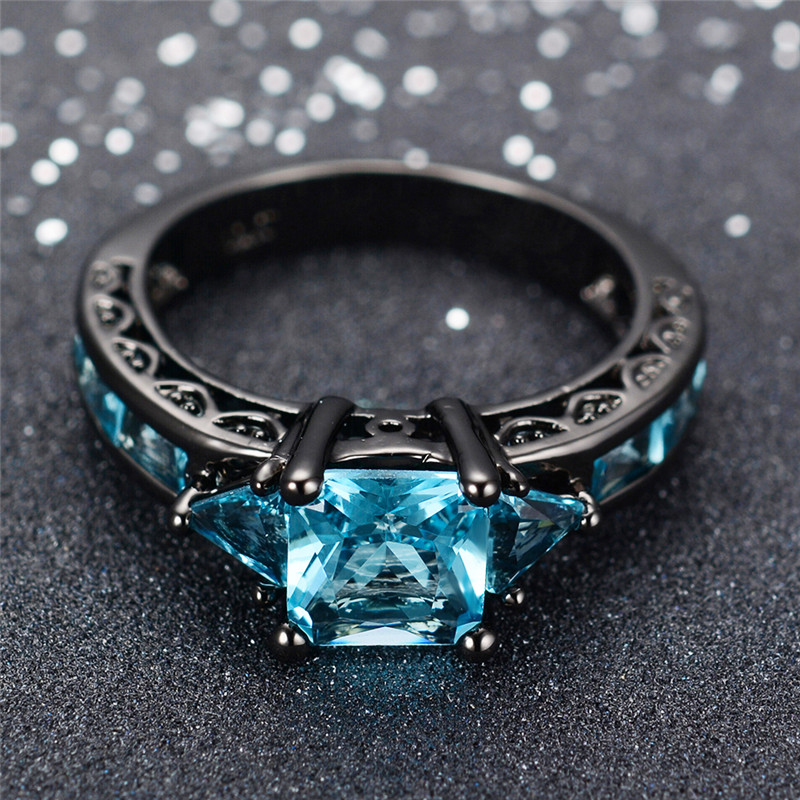 Best buy ) }}Size 6-10 Classical Jewelry Princess Cut Light Blue Wedding Ring Black Gold Filled