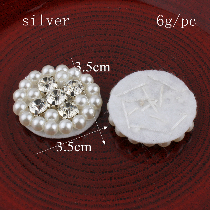 30pcs/lot 2017 Metal Flatback Flower Pearl Crystal Buttons For Crafts Clear Alloy Rhonestone Buttons For Wedding Embellishments