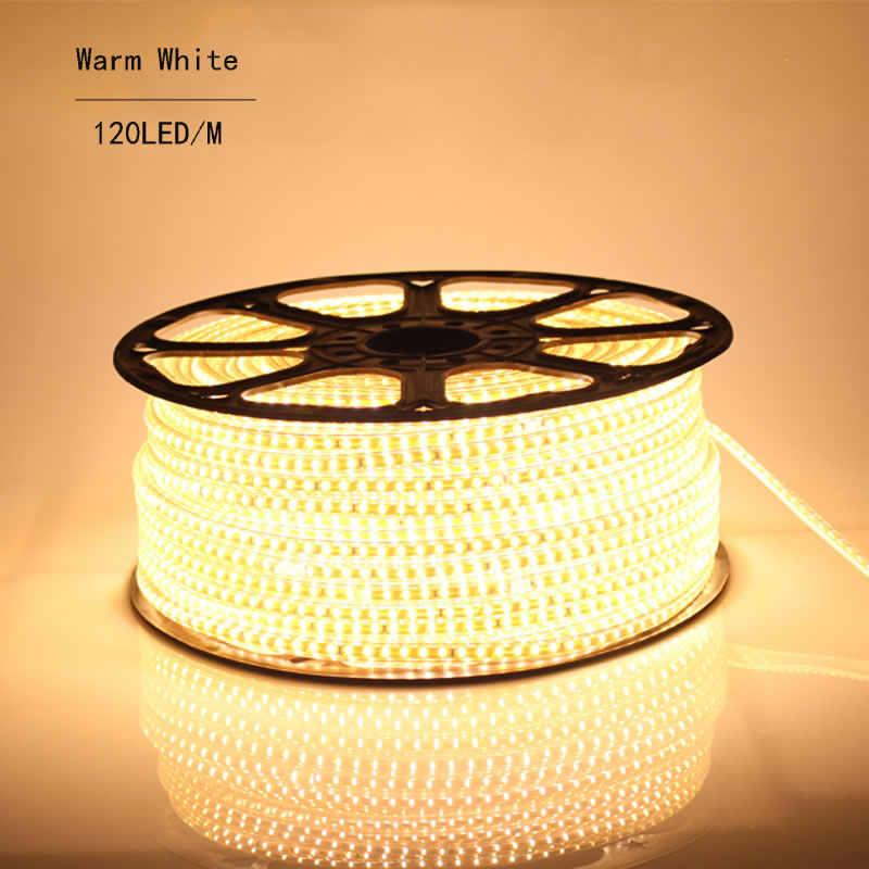 Super Bright 220 V AC LED Strip 3014 IP67 Tahan Air 120 LED/M Flexible Light + Power Plug untuk taman Outdoor Pita Tali