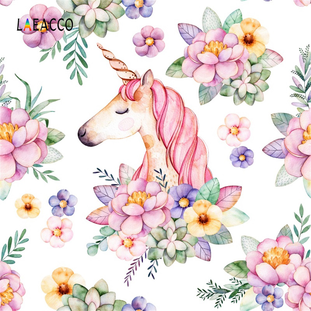 Laeacco Pink Flowers Unicorn Pattern Baby Newborn Photography Backgrounds Customized Photographic Backdrops For Photo Studio