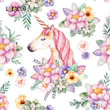 hot deal buy laeacco pink flowers unicorn pattern baby newborn photography backgrounds vinyl custom camera photo backdrops for photo studio