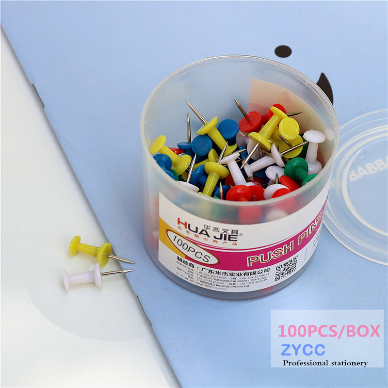 100pcs  Plastic Push Pins Offic Binding Cork Board Safety Colored Pin Big Head Needle Pins