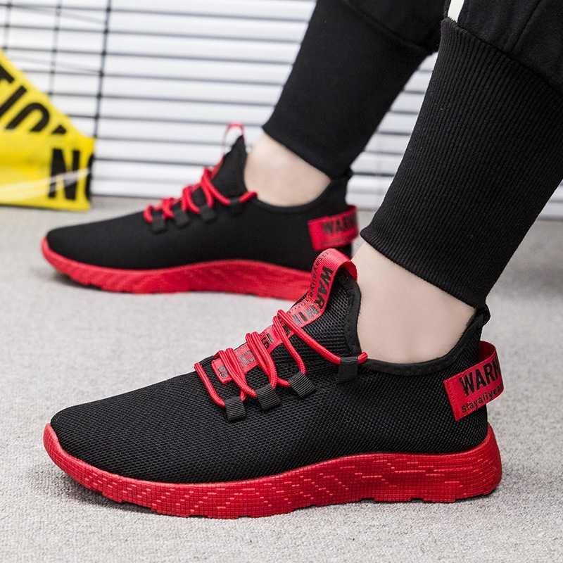 PUIMENTIUA erkekler vulkanize ayakkabı Sneakers nefes rahat kaymaz erkekler 2019 erkek hava örgü Lace Up aşınmaya dayanıklı ayakkabı Tenis
