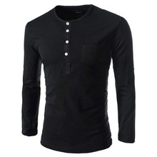 Solid color Plus Size round neck Shirts Men Long Sleeve Cotton  Fitness men's Undershirt