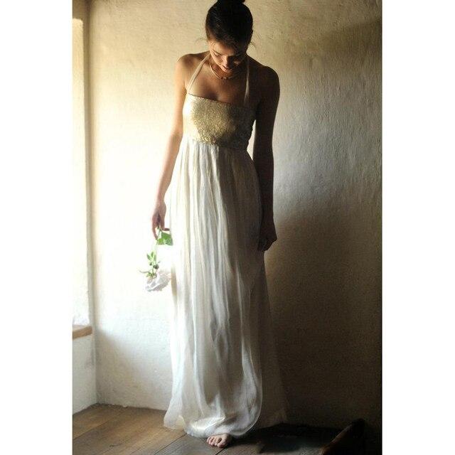 Us 109 0 Gold Bohemian Wedding Dress 2017 Boho Halter Bridal Gown Chiffon Alternative Sequins Wedding Gown In Wedding Dresses From Weddings