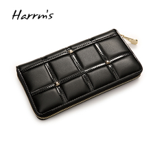 fashion weomen's black color soft cow genuine leather evening clutch bags wallets for lady with gold zipper