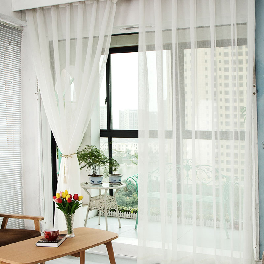 Curtain For Balcony: Thick Solid Cotton Curtain Balcony Linen Yarn White Gauze