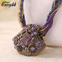 Caxybb brand beautiful maxi bohemian necklace 13 color rhinestone large choker necklace and pendants for women necklace