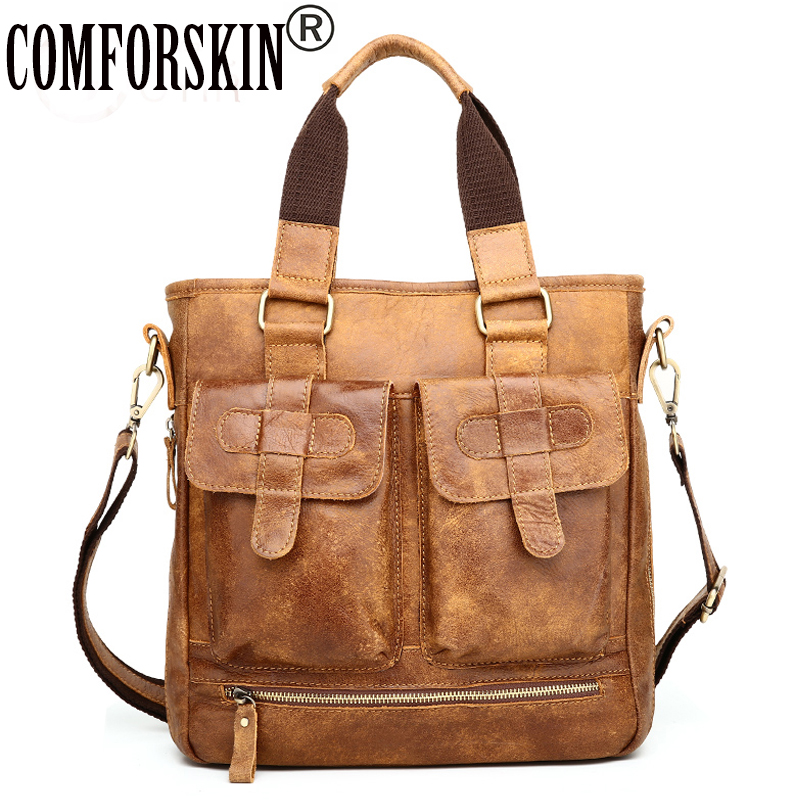 COMFROSKIN New Arrivals 100% Cowhide Leather Men Messenger Bag 2018 Brand Nu-buck Leather European and American Retro Man's Bag pamaskin 2018 new arrivals casual retro men messenger bags 100