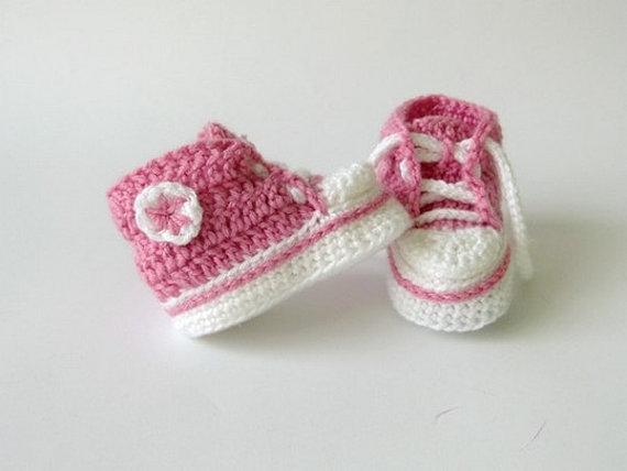 Häkeln Rosa Turnschuhe Häkeln Babyschuhe Häkeln Säuglingsschuhe