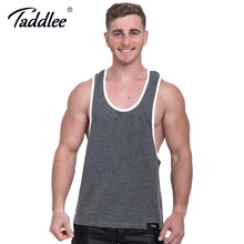 Taddlee Brand Men's Tank Top Cotton Fitness Singlets Stringer Tshirts Sleeveless Bodybuilding Hip Hop Muscle Solid Color