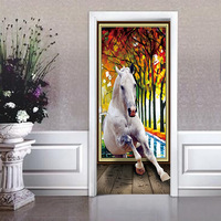 Nm04 Creative Woods White Horse Corridor Door Stickers 3D Simulation Decorative Wall Stickers 2 Pcs Set
