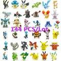Shippinng livre 144 pcs Pikachu Pokeball 2-3 cm Estilo Diferente Dos Desenhos Animados Mini Figura Brinquedos Monstro de Bolso Ordens Mistas