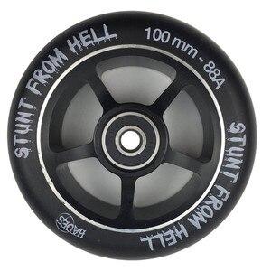 Image 2 - 2 peças/lote 88a 100mm rodas de scooter com rolamentos de liga de aço roda hub alta elasticidade e precisão velocidade patinação roda a116