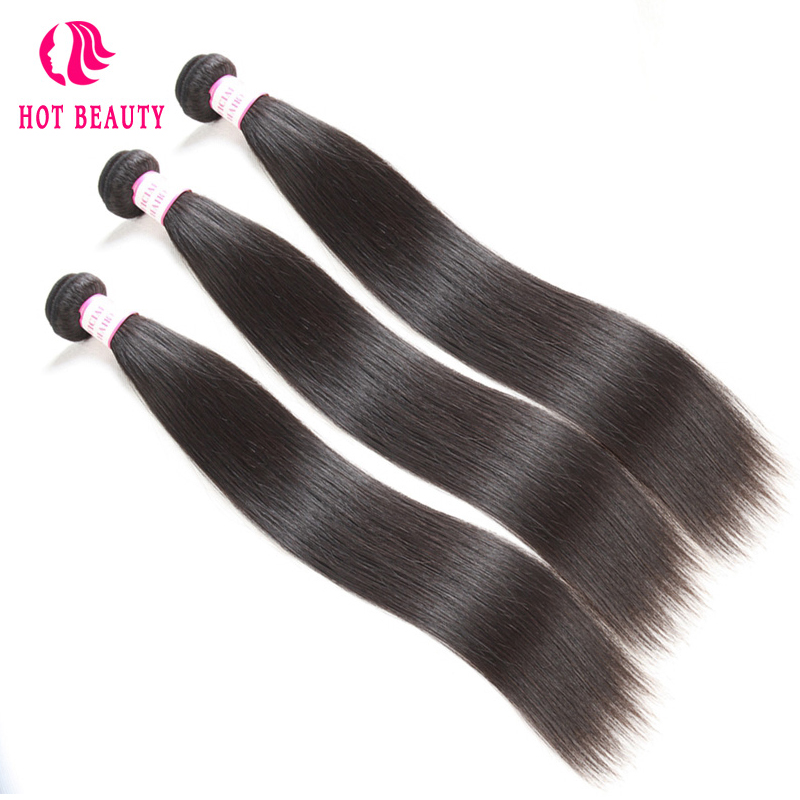 Hot Beauty Hair Brazilian Straight Remy Hair Weave Bundles 10-28 inch 1 Piece 100% Human Hair Extensions Kan Køb 3 4 Bundles