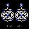 Marca diseño barroco de lujo ahueca hacia fuera alta calidad azul / blanco circonita grandes cuelga los pendientes para mujer de la boda / partido / regalo