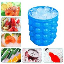 BOAZ Large Silicone Ice Bucket & Mold with lid,(2 in 1) Space Saving Cube Maker,Portable Silicon Maker (Blue)