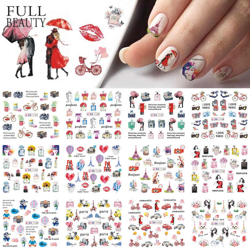 12 Types Watercolor Romantic Slider Nail Sticker Tower Macarons Perfume Flower Transfer Water Design Manicure Tips CHBN1141-1152